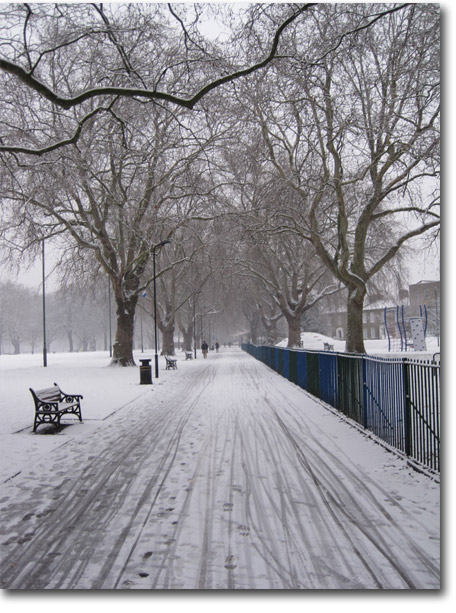 Snow covers the Hackney Bubble
